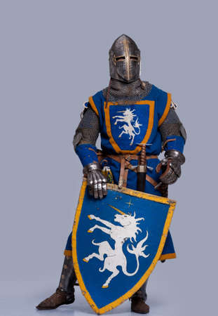 blue grey coat: Medieval knight on grey background.