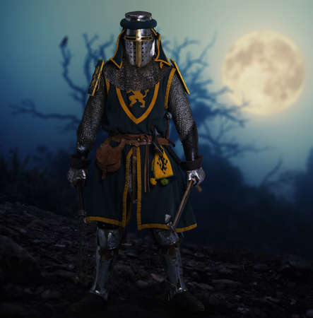 crusades: Knight against spooky landscape. Stock Photo
