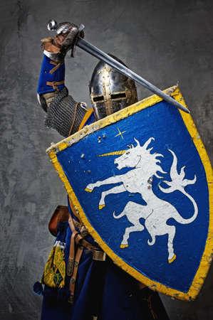 ナイト: 灰色の背景上の中世の騎士。