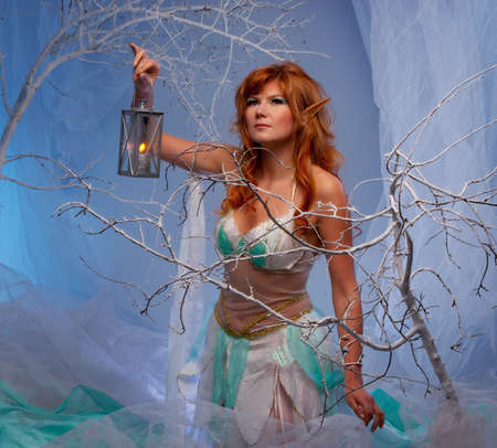 fairy woman: Elf in magical winter forest with lantern. Stock Photo