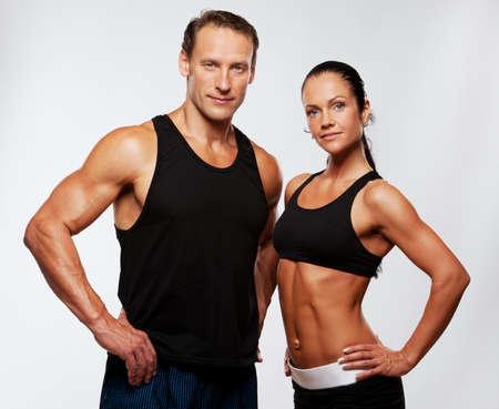 아름 다운 운동 커플. 스톡 콘텐츠