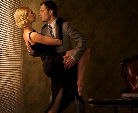 tango: Retro couple dancing. Stock Photo