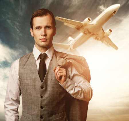 business travel: Businessman traveling concept. Stock Photo