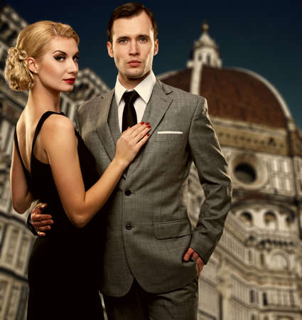 Retro couple against Duomo cathedral, Florence  photo