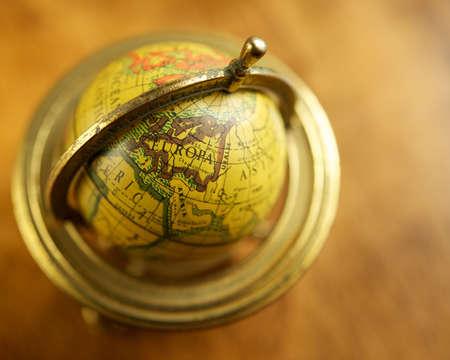 Close-up of a vintage globe. photo