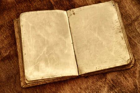 libros abiertos: Libro abierto de la vendimia con las p�ginas en blanco Foto de archivo