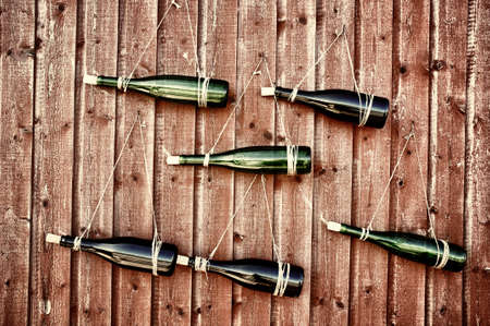 closed corks: Wall designed with wine bottles