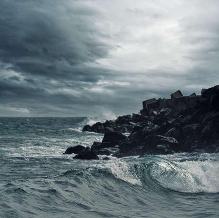 stormy sea: Stormy sky over an ocean
