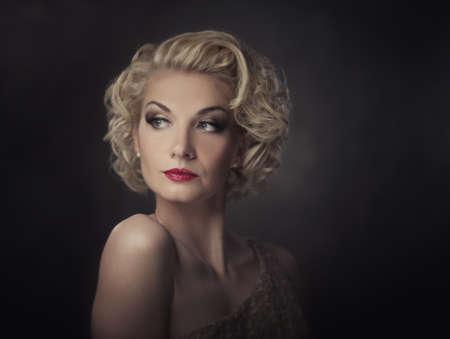 beautiful lips: Retro woman portrait Stock Photo