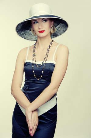 Retro woman in hat Stock Photo - 14075247