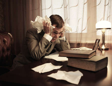 scrunch: Businessman in panic Stock Photo