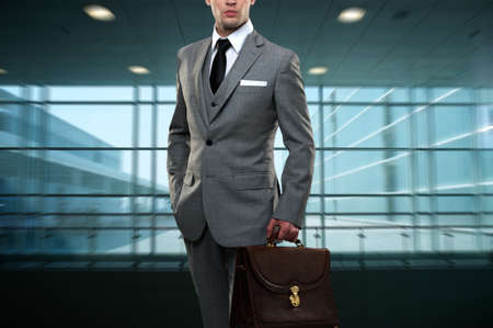 business briefcase: Businessman inside modern building Stock Photo