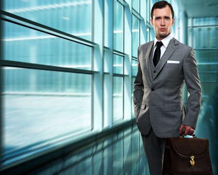gray suit: Businessman inside modern building Stock Photo