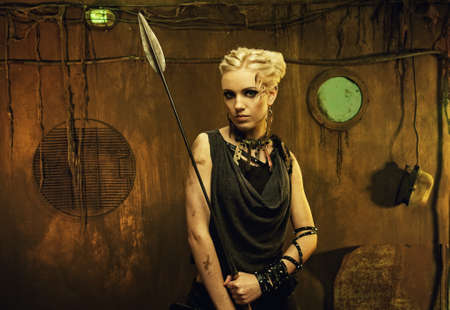 spears: Woman with a spear in a bunker