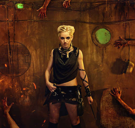 young knife: Woman in a bunker with zombie hands around her