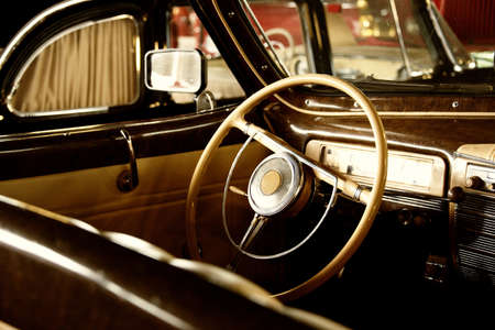 oldtimer: Retro car interior Stock Photo