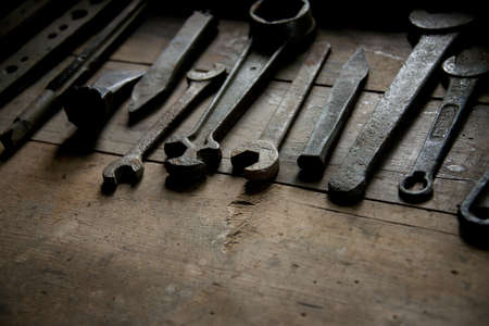 Old rusty tools on a table Stock Photo - 14640538