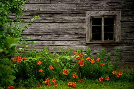 cottage: Antigua casa rural de madera Foto de archivo