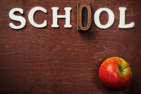 orthography: The word school written on wooden background