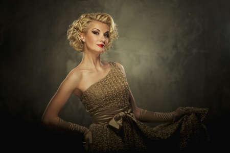 Beautiful retro woman on grey background Stock Photo - 15076651