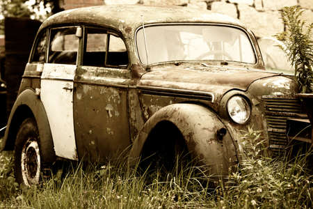 junk yard: Abandoned old car