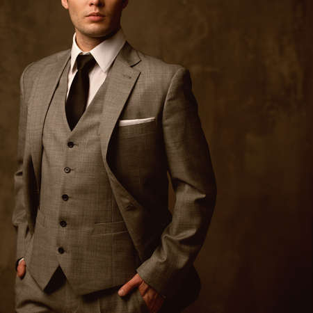 gray suit: Man in classic suit