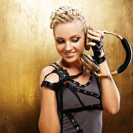 Steam punk girl with headphones photo