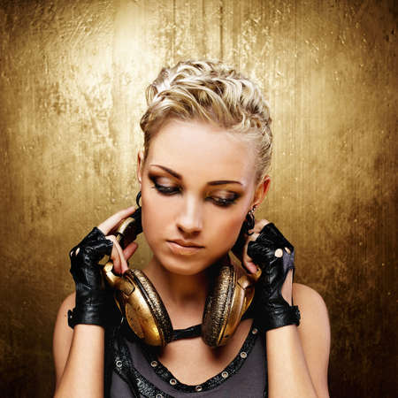 punk rock: Steam punk girl with headphones Stock Photo