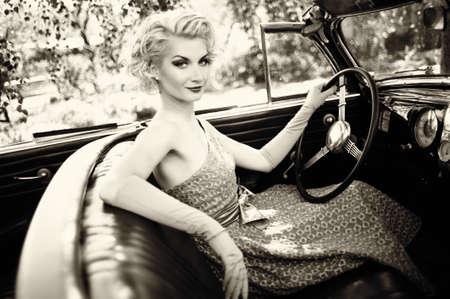steer: Retro woman in convertible
