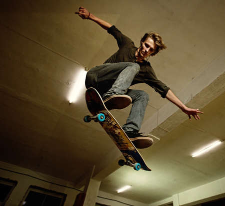 stunts: Skater jumping Stock Photo