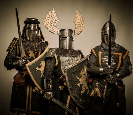 Three medieval knights Stock Photo - 15599719