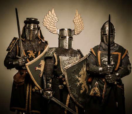 Three medieval knights Stock Photo - 15599719