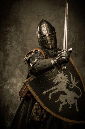 ナイト: 灰色の背景上の中世の騎士