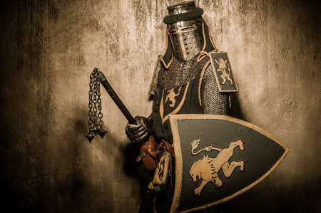 chain armour: Medieval knight with weapon