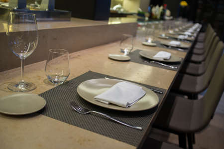 wine and dine: Table setting in restaurant Stock Photo