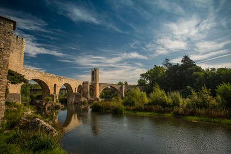 romanesque: Romanesque bridge over river, Besalu