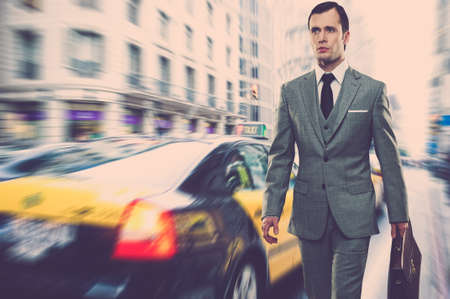 Man in classic grey suit with briefcase walking outdoors Stock Photo - 16086485