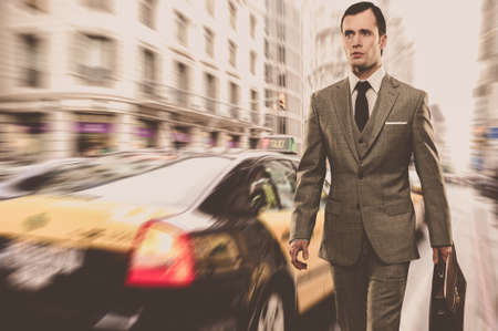 Man in classic grey suit with briefcase walking outdoors Stock Photo - 16548612