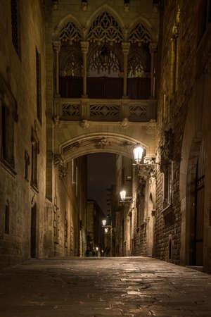 Bridge at Carrer del Bisbe  in Barri Gotic, Barcelona photo