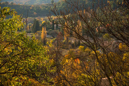 Small town view in autumn landscape Stock Photo - 16611735