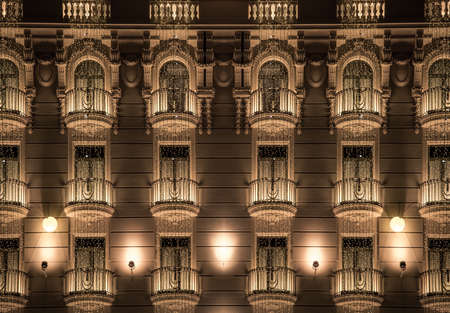 Building facade with shiny decorations photo