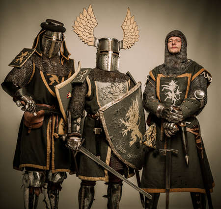 Company of medieval knights in armour  photo