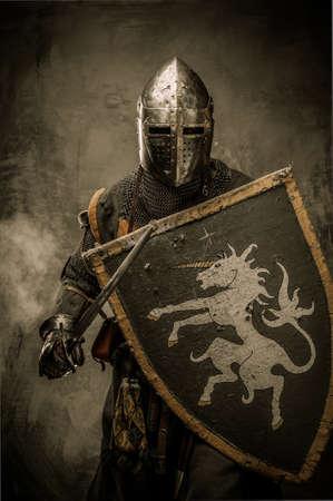 guerrero: Caballero medieval con la espada y el escudo contra la pared de piedra