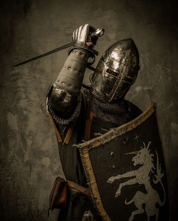 chain armour: Medieval knight with sword and shield against stone wall Stock Photo