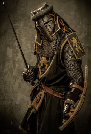 knight: Medieval knight with sword and shield against stone wall Stock Photo