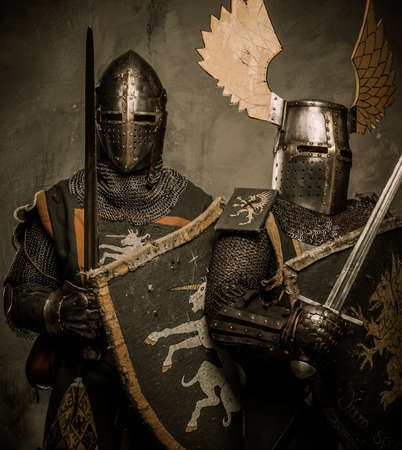 medieval knight: Tow medieval knight in full armour  Stock Photo