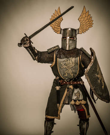 hauberk: Medieval knight with sword and shield