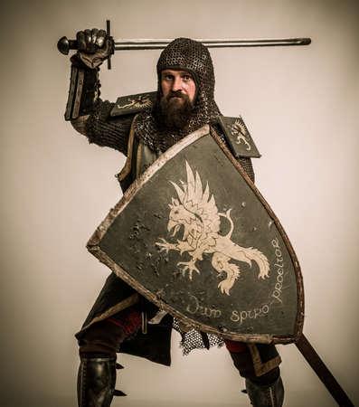 caballero medieval: Caballero medieval con espada y escudo