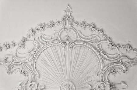 Luxury white wall design with mouldings photo