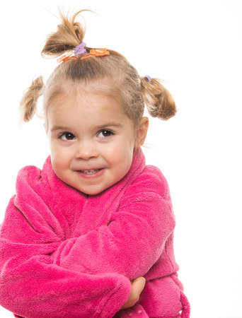 bath gown: Funny little girl in dressing gown